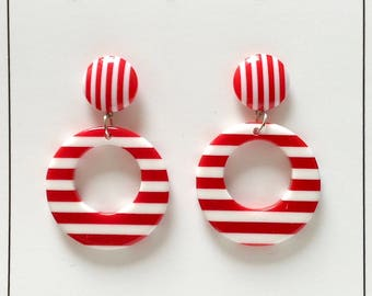 Ahoy Stripey Sailor Gal Earrings - Red