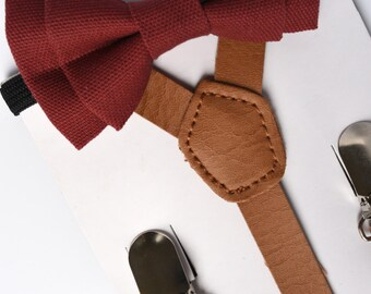 SUSPENDER & BOWTIE SET.  Newborn - Adult sizes. Light brown pu leather suspenders. Marsala Bow tie