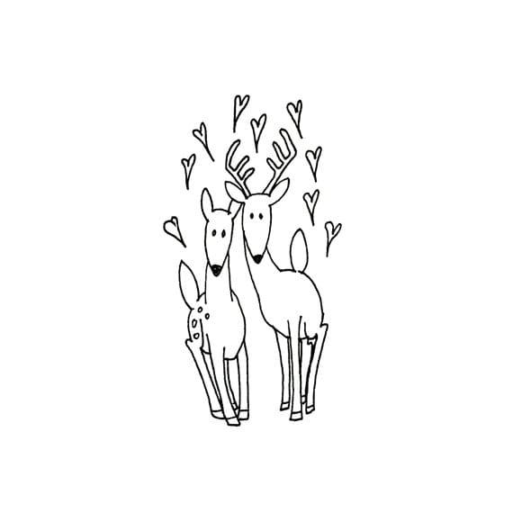 Deer Hand Embroidery Pattern Valentine's Printable