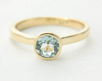 Aquamarine Gold Ring Aquamarine Yellow Gold Rose Gold White Gold Ring Aquamarine Engagement Ring