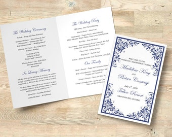 "Wedding Program Printable, Folded Booklet Order of Service, Navy Wedding Template Program Timeline INSTANT DOWNLOAD ""Forever Flourish"""