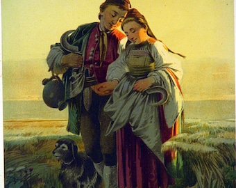 Beautiful Circa 1870s Full Color Lithograph Man and Woman and Dog Travelling Landscape Scene Vintage Wall Art Print Picture Wall Hanging