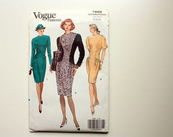 Vogue 7888 UNCUT Pattern for Misses fitted dress, Tapered Dress, Plus Size Dress
