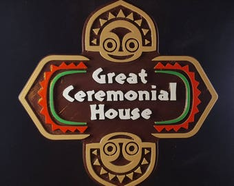 Polynesian Themed Longhouse Sign / Plaque - Great Ceremonial House ( Disney Resort Polynesia / Park Tiki Replica Prop )