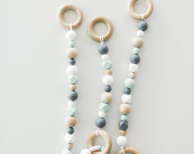 3 Beaded Strands with Removable Teething Bracelet **(Hardwood Maple Baby Gym Frame not included)**