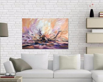Large Wall Art Canvas, Original Abstract Painting, Contemporary Art, Abstract Sunset Painting, Modern Acrylic Artwork 24x36 by Olga Tkachyk