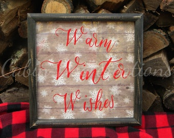 Warm Winter Wishes w Red Letters Black Shabby Chic Frame Picture Snowflake Pallet Rustic Vintage Traditional Christmas or Holiday Decoration