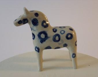 Blue circles ceramic horse