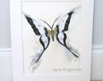 Butterfly Painting, Butterfly Picture, Butterfly Wall Art, Insect Art, UK Shop, Animal Art, Butterfly, Black and White