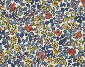 Liberty blue orange Tangerine color Liberty EMILIA pattern print fabric