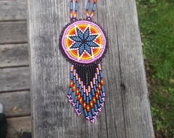 morningstar  necklace, native american beadwork