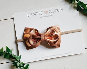 "Baby/Girls Genuine Leather Bow // Headband OR Hair Clip- Metallic Copper Leather Bow ""Penny"" by Charlie Coco's"