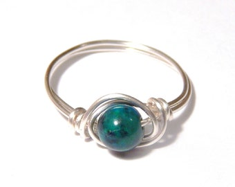 Chrysocolla Ring, Wire Wrapped Chrysocolla Ring, Wire Wrap Ring, Chrysocolla, Wire Wrapped Ring, Chrysocolla Jewelry, Chrysocolla Pendant