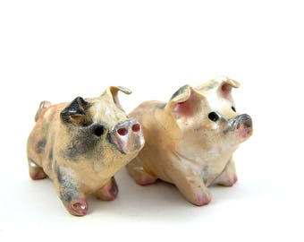 Cream Spotted Pig, Hand-Sculpted Figurine, Polymer Clay and Mica Powders