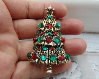 Book Piece, Hollycraft Christmas Tree Pin Brooch, Ruby and Emerald Rhinestones Estate jewelry