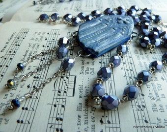 Cathedral Window Necklace / Blue and Silver / Vintage Rosary / New Old Stock / Sparkling Facets / Cross and Candles / Religious History