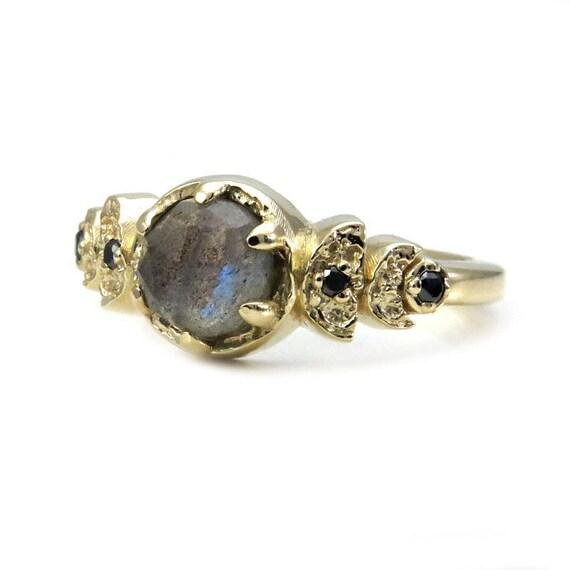 Moon Phase Labradorite and Black Diamond Engagement Ring