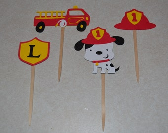 Firetruck Birthday Cupcake Toppers (12) / Fire Truck Cupcake Picks Toppers - Set of 12 / Firetruck Birthday Party / Dalmatian Party