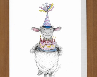 21) Sheep Birthday Card --  Happy Birthday to Ewe!