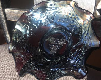 Vintage Dugan Holly and Berry Carnival Glass Bowl- Circa 1909