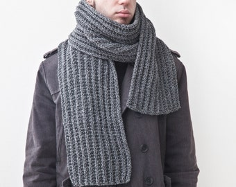 Gray Knit Scarf for Him, Handmade Men's Scarf, Fathers Day Gifts, Extra Long Scarf for Men, Boyfriend Gift, Best Gift for Husband