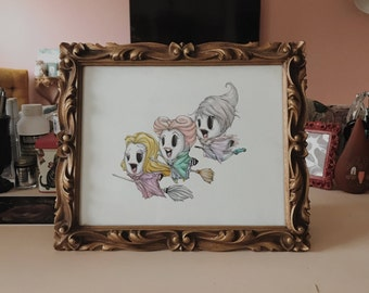 Sisters the Ghosts 8x10 Framed Original Watercolor Painting