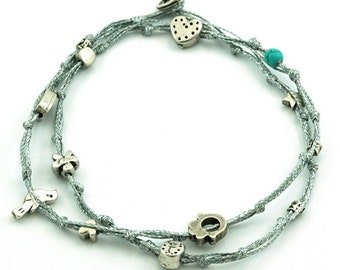 Silver Anklet with Good Luck Charms