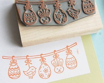 Easter Bunting Rubber Stamp -  Colouring In Stamp - Easter stamper - Easter Card - Easter Craft - Easter Card - Easter Gift - Rabbit Egg