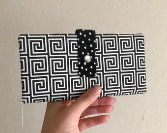 Black and White Square Swirls - Long Wallet Clutch - Card Slots, Zipper, Cash