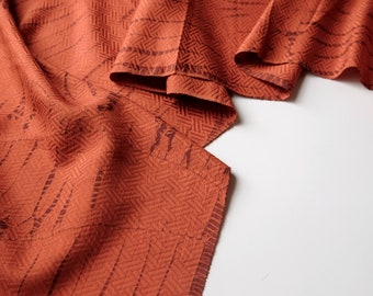 Orange Tie Dye Silk Kimono Fabric unused bolt by the yard orange and brown Geomteric woven and Pin hole wave Pattern 100% silk OFF the bolt