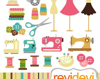 Sewing clipart Commercial use - sewing machine, mannequin, thread, buttons, hobby clip art, digital images