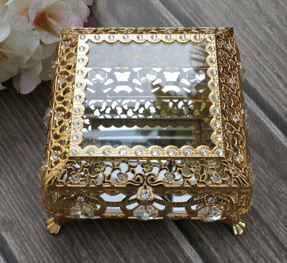 Silver or Gold Beautiful Swarovski Crystal Box Wedding Lasso