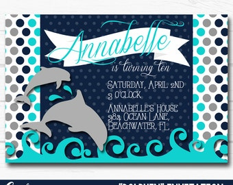 Girls dolphin invite etsy diy personalized blue dolphin under the sea inspired birthday party digital printable 4 filmwisefo Gallery
