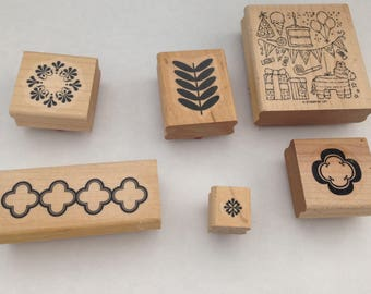 Stampin' Up!  lot Of 6 Wood Mount Rubber Stamps