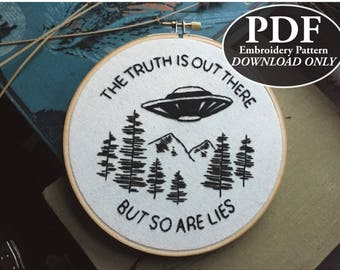 PDF Instant Download Pattern for The Truth Is Out There Embroidery - X Files