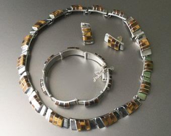 Taxco Tigers Eye Quartz and Sterling Silver Modernist Necklace Bracelet Earrings Set - 950 FINE SILVER - Signed TS-101 Mexico