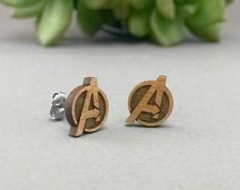 The Avengers Post Earrings - Laser Engraved Wood Earrings - Hypoallergenic Titanium Post Earring Pair
