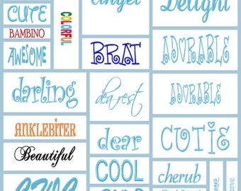 100 cute,sassy funny words machine embroidery designs,great t shirt bib and,onesie designs
