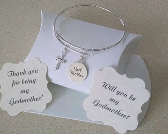 Godmother Bracelet, Godmother Gift, Will You Be My Godmother, Thank You For Godmother, Silver Plated Adustable Bangle, Comes With Card