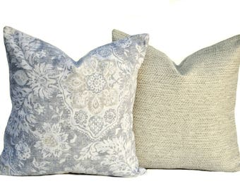 Two high quality Woven Magnolia pillow covers, Beige pillow, cushion, decorative throw pillow, decorative pillow, Charcoal grey Pillow