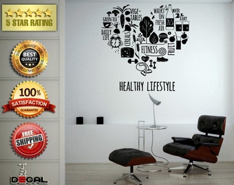 Good Health Healthy Life Style Food Exercise Fitness Wall Vinyl Sticker Mural Room Decor L1811