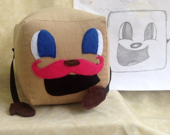 """Tiny Box Tim Plushie! Corduroy Plush Toy. 7"""" cube, Pillow. With Pink Warfstache/Mustache Markiplier Youtuber."""