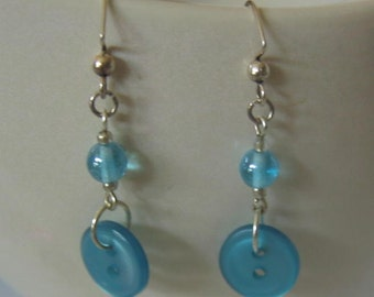 Aqua Beaded and Buttoned Earrings