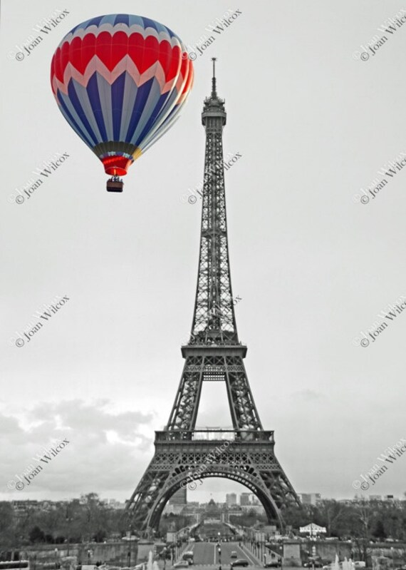 Color Splash Black White Or Sepia Eiffel Tower Hot Air