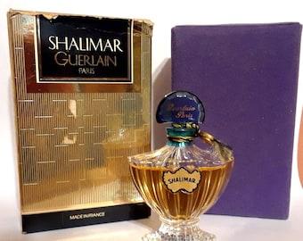 Vintage 1990s Shalimar by Guerlain 0.25 oz Extrait Pure Parfum Bottle Crystal Flacon & Box PERFUME
