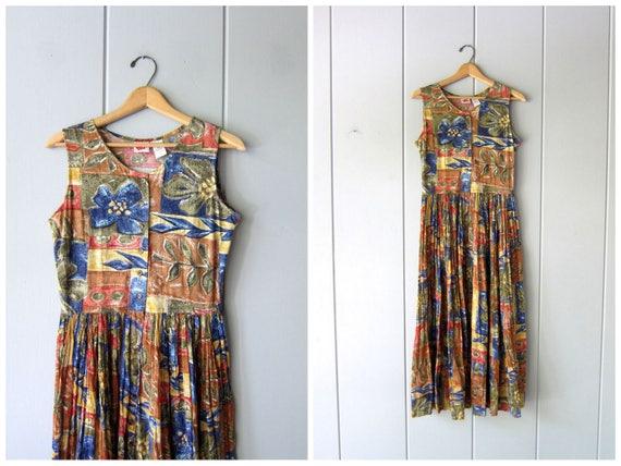 90s Floral Dress   Thin Cotton Gauze Sun Dress   Summer Button Up Flower Print 1990s Frock Boho Preppy Womens Small Medium