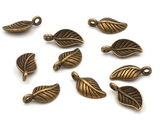 40 charms small leaves bronze 14.5 mm