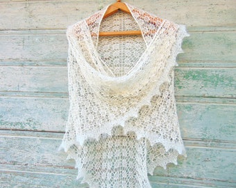 Bride Wedding Knitted Shawl Shoulder Knit Wrap Ivory Lace Wedding Shawl White Hand knit shawl Silk mohair Ivory bridal wrap ivory lace shawl