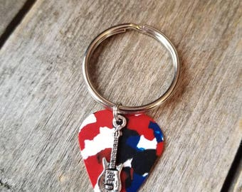 Red White and Blue guitar pick keychain with guitar charm