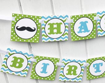 Little Man Mustache Bash Happy Birthday Banner Printable - Instant Download- Mustache Bash Birthday Bunting